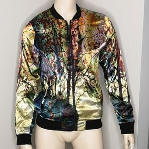 FDJ Satin Mystical Forest Bomber Jacket Coat